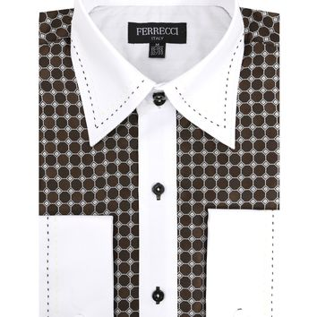 Ferrecci Men's Satine Hi-1022 Brown Circle Pattern Button Down Dress Shirt