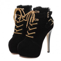 Women Square Head High Stiletto Heels Martin Boots Cross Straps Lace-up Sexy Boots