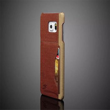 Fashions Luxury Coque card back Cover For Samsung Galaxy S6 edge plus Case embossed quality goods PU Leather Mobile phone Shell