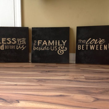 Large Bless the food before us the family beside us and the love between us large wood signs hand painted signs wall decor home decor 3 part