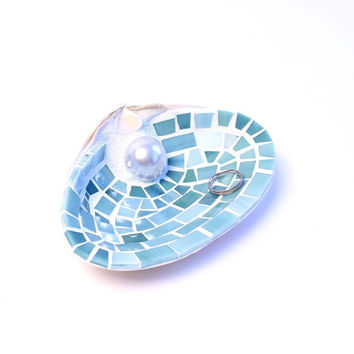 Engagement Gift Sea Shell Ring Holder Dish in Blue Mosaic Stained Glass Tile - Featured in the Boston Globe