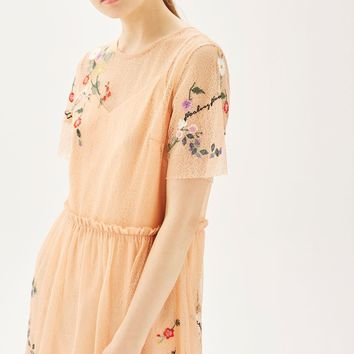 PETITE Embroidered Mesh Midi Dress