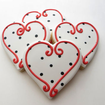 Heart cookie favors decorated for a Wedding, Bridal shower or Valentines,1 Dozen