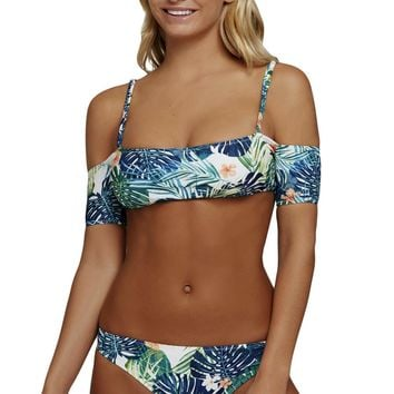 Tropical Print Spaghetti Straps Cold Shoulder Swimsuit
