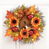 Lighted Fall Birdhouse and Sunflower Wreath
