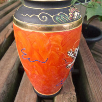 Dragonware Moriage Japan Vase, Orange Hand Painted, Black Gold Trim, Vintage