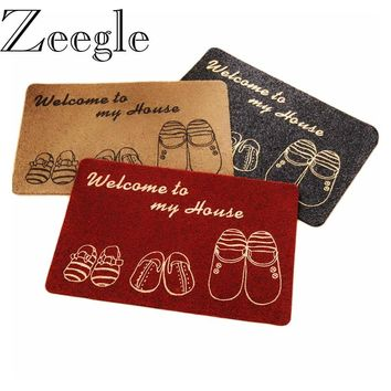 Zeegle Shoes Funny Doormat for Entrance Door Water Proof Kitchen Area Rug Bedroom Carpets Floor Mats Anti-slip Bathroom Bath Mat