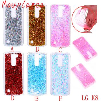 Cases For LG K8 phone cases Luxury glitter powder paillette Soft TPU back cover cases Coque for LG K8 LTE K350E K350N cases