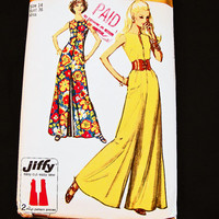 Vintage 1970s Palazzo Jumpsuit Pattern Misses size 14 Womens Palazzo Pants Jumpsuit Sewing Pattern Easy to Sew