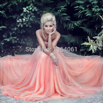 Stunning Rose Pink Long Prom Dresses 2014 Sweetheart Beaded Lace Appliques Fashionable Party Gowns