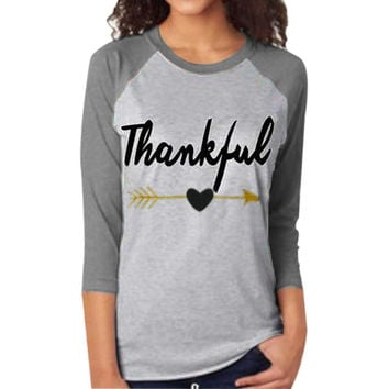 Blouse Tee Thankful Letter Printing Arrow Printed Three Quarter Sleeve Splicing Top Shirt