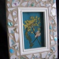 White Pottery Frame, Teal Abalone Shell, 4 x 6, Mosaic,  Hostess Gift, Housewarming, Shabby Chic, Frame, For Her
