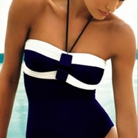 Halter Neck Black And White One Piece Swimsuit Bathing Suit