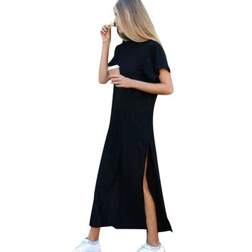 Women's Ankle-Length O-Neck Short Sleeve Long Dress 0937-55