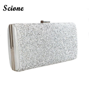 Scione Women Evening Bag Diamond Rhinestone Clutches Crystal Bling Bling Gold Clutch Bag Wedding Party Bags Purse Black/Silver