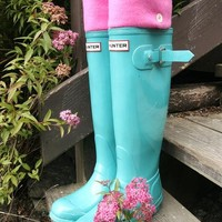 SLUGS Fleece Rain Boot Liners Solid Pink, Wellington Boot Socks, Spring Gardening Rainy Day Fashion, Mothers Day Gift (Sm/Med 6-8 Boot)