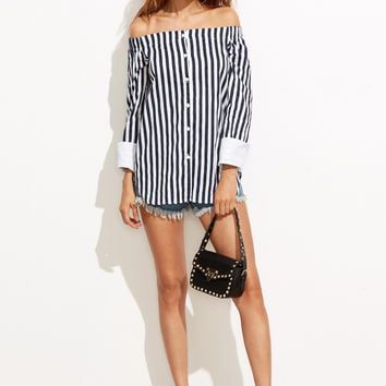 Blue Stripe Off Button Front Blouse