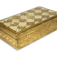 Florentine gilt box, vintage cream and gold, Italian vanity box