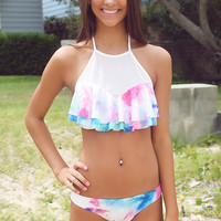 White Abstract Print Ruffled Swimsuit