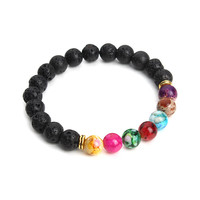 Muti-color Design Mens Bracelets Black Lava 7 Chakra Healing Balance Beads Bracelet For Men Women Pulseras
