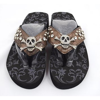 Gothic Punk Rock Crystal Skull and Crossbone Concho Metal Bling Studded Bronze Flip Flops