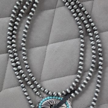 Triple Strand Silver Beaded Necklace with Concho