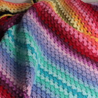 Blanket: hand crochet blanket, afghan, multicolor Granny stripes, rainbow
