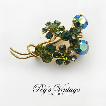 Vintage Peridot Green & AB Rhinestone Spray Flower Brooch/Pin