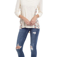 Embroidered Side Long Sleeve Top