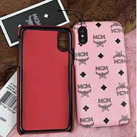 MCM Popular Multicolor Women Men Leather Hard Mobile Phone Cover Case For iphone 6 6s 6plus 6s-plus 7 7plus iPhone8 iPhone X Pink I12923-1