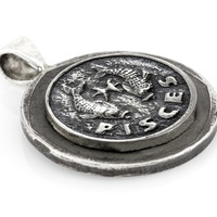 Pisces Sign Astrology Zodiac Medallion on Old 10 Sheqel Coin of Israel