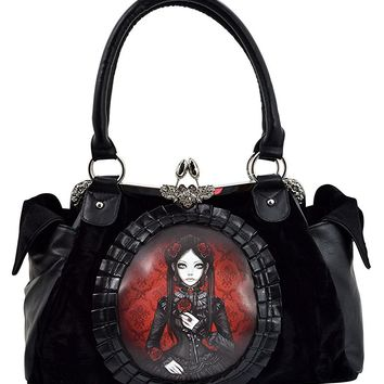 Restyle Gothic Lolita Black Velvet Red Doll Cameo Kiss Lock Vintage Style purse handbag
