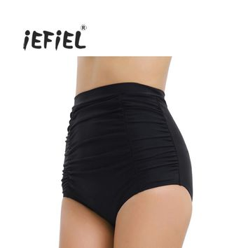 iEFiEL Black High Waist Women High Waisted Skinny Ruched Bikini Bottoms Shorts Outside Fashion Women's Summer Beach Wear Shorts