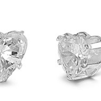 925 Sterling Silver CZ Stamping Heart Stud Earrings 7MM Birthstone