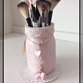 Charming Makeup Caddy Pink Altered Mason Jar