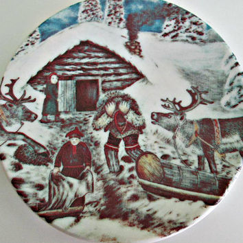 A.Alariesto 1981 Arabia Finland Plate Nr. 11 Reindeer Sleigh Winter Scene, Porcelain Plate, Collectible Plate, Wall Decor, Home Decor