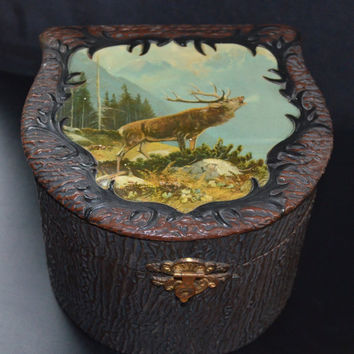 Celluloid Collar Box Antique Elk Stag Celluloid Wood Box ~ Museum Quality