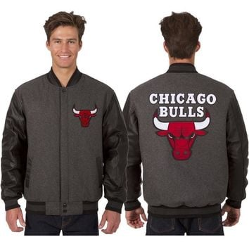 Chicago Bulls Wool and Leather Jacket - Charcoal/Black/Bred