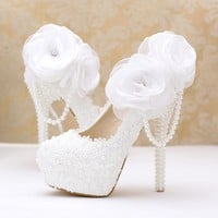 Lace pearl white flowers bridal shoes thin high heel  platform shoes with pearl pendant round/pointed toe wedding shoes
