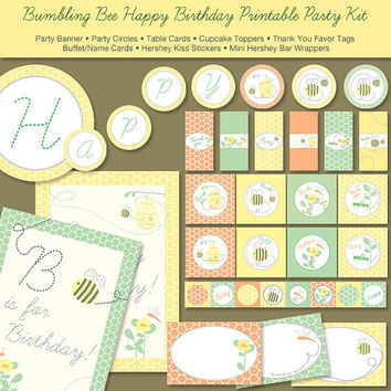 Bumble Bee Birthday Printable Party Kit  Digital by ThumbAlinaLane
