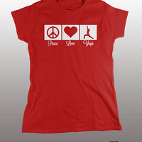 Peace Love Yoga Shirt -  tshirt, mens womens gift, funny tee, instagram, tumblr, workout, mind, spirit, body, poses, ladies class, girls