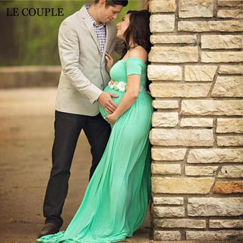 Le Couple Stretchy Cotton Matenrity Photography Props Dress Slash Neck Cotton Jersey Maternity Photo Shoot Maxi Dresses