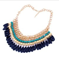 US-Lady Women's Retro Pendant Bib Statement Chain Bohemia Indian Style Green Necklace
