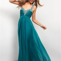 Elegant One Shoulder Ruched and Beaded Open Back Chiffon Prom Dress PD2152