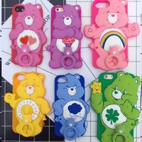 Funny 3D Cartoon Rainbow bear soft silicone Phone cover for Iphone 6 6s Plus back Protector Skin cover case for iphone 8 7 plus