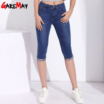 Summer Skinny Jeans Capris Women Stretch Knee Length Denim Pants High Waist Women's Jeans Plus Size Female Short Jean For Woman