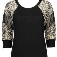 Women's Printed Sleeve Sweater in Black by Daytrip.