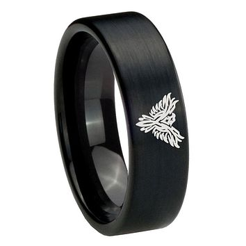8MM Brush Black Phoenix Pipe Cut Tungsten Carbide Laser Engraved Ring