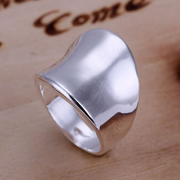 925 jewelry silver plated Ring Fine Fashion Thumb Ring Women&Men Gift Silver Jewelry Finger Rings SMTR052