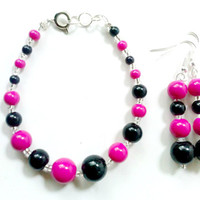 Hot Pink Bracelet - Hot pink earrings - pink bracelet - black bracelet - glass bead earrings - glass bead bracelet - jewelry - bracelet